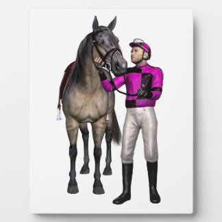 Horse and Jockey in Pink and Black Plaque