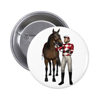 Horse and Jockey in Red and White Button