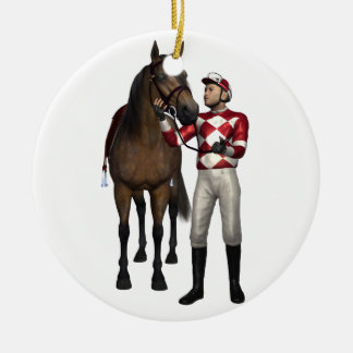 Horse and Jockey in Red and White Ceramic Ornament