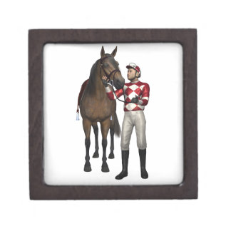 Horse and Jockey in Red and White Gift Box