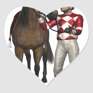 Horse and Jockey in Red and White Heart Sticker