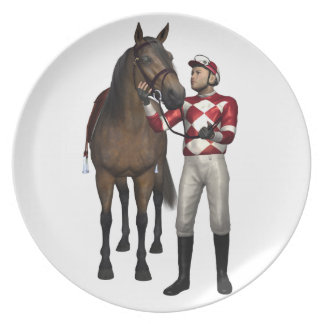 Horse and Jockey in Red and White Melamine Plate