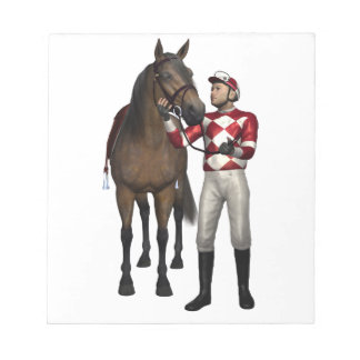 Horse and Jockey in Red and White Notepad