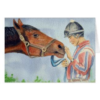 Horse and Jockey Original Greeting Card