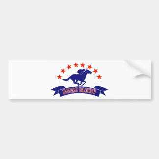 Horse and jockey racing silhouette stars bumper sticker