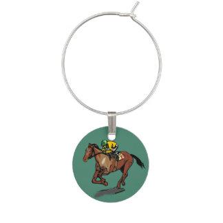 Horse and Jockey Wine Charm