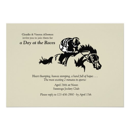 personalized sports horse racing invitations