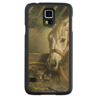 Horse and kittens, 1890 carved maple galaxy s5 case