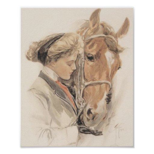 Horse and Lady Poster Vintage