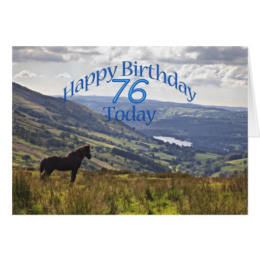 Horse and landscape 76th birthday card