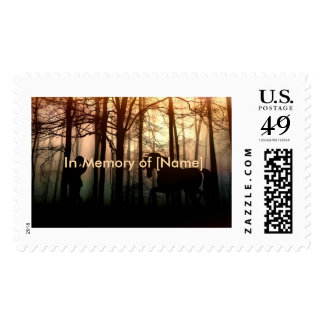 Horse and Master Amongst Trees Silhouette Postage