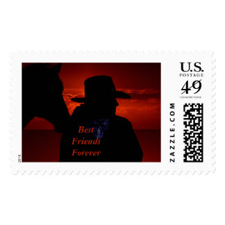 Horse and Master in Deep Red Sunset Silhouette Postage