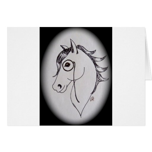 Horse and monocle card