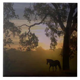 Horse and Oak Tree Sunset Art Tile