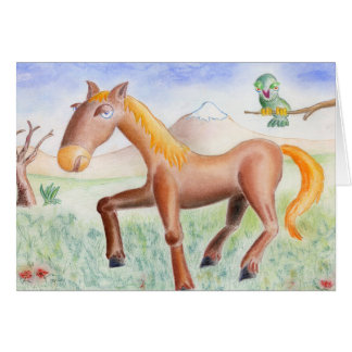 Horse and owl card