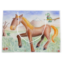 Horse and owl large gift bag