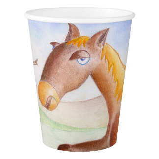 Horse and owl paper cup