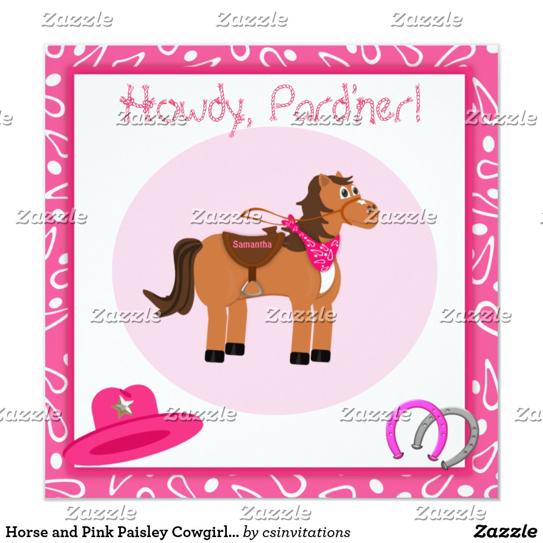 Horse and Pink Paisley Cowgirl Birthday Party