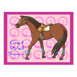 Horse and Pink Swirls Get Well Postcard