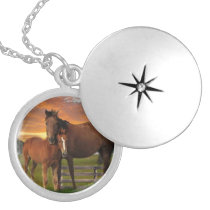 horse and poney silver plated necklace
