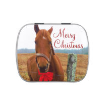 Horse and Red Christmas Bow Jelly Belly Candy Tin