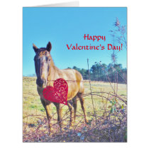 Horse and Red  Heart Card