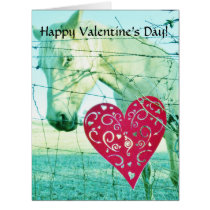 Horse and Red &  Hearts Card