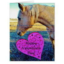 Horse and Red & Pink Hearts Card