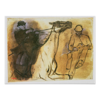 Horse and Rider by Edgar Degas, Vintage Study Art Poster