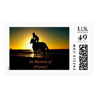 Horse and Rider on the Beach at Sunset Silhouette Postage