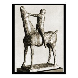 Horse and rider sculpture postcard