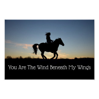 Horse and Rider Silhouette Poster