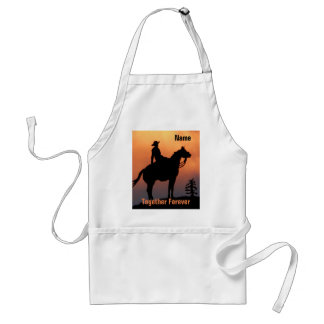 Horse and Rider Sunset Silhouette Adult Apron