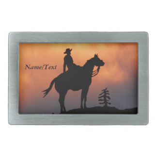 Horse and Rider Sunset Silhouette Belt Buckle