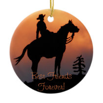 Horse and Rider Sunset Silhouette Ceramic Ornament