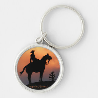Horse and Rider Sunset Silhouette Keychain