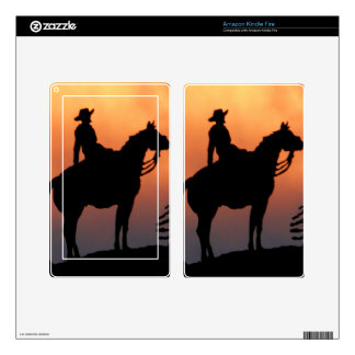 Horse and Rider Sunset Silhouette Kindle Fire Skin