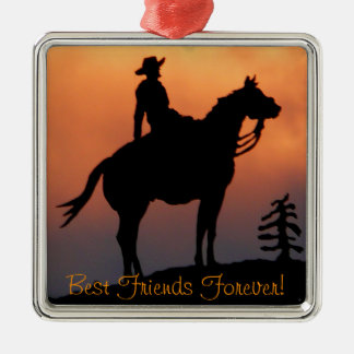 Horse and Rider Sunset Silhouette Metal Ornament