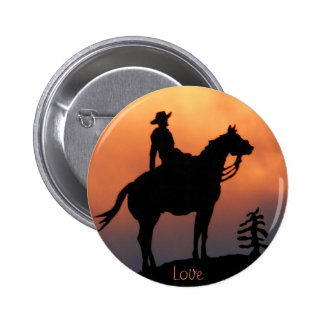 Horse and Rider Sunset Silhouette Pinback Button