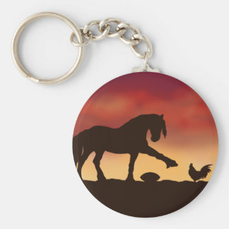 Horse and Rooster Football Stand off Keychain