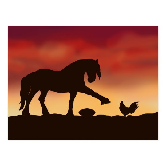 Horse and Rooster Football Stand off Postcard
