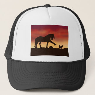 Horse and Rooster Football Stand off Trucker Hat