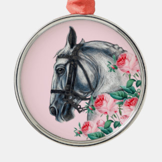 Horse And Roses Metal Ornament