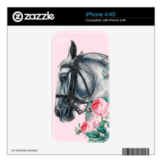 Horse And Roses Skin For iPhone 4S