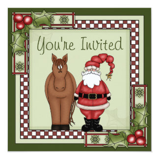 Horse and Santa Holiday Party Invitation