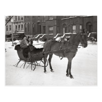 Horse and Sleigh, 1935 Postcard