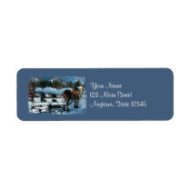 Horse And Sleigh Christmas Return Address Labels