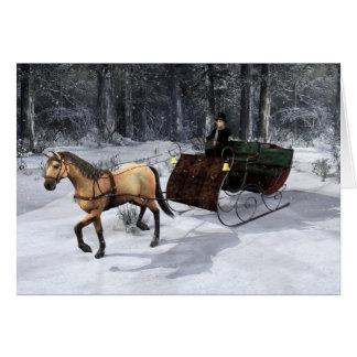 Horse And Sleigh Holiday Christmas Card
