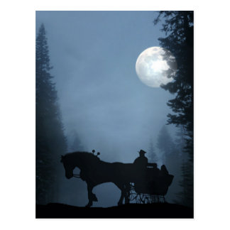 Horse and Sleigh Holiday Postcard