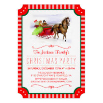Horse and Sleigh Red & White Christmas Invite